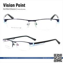 Half-rim metal alloy optical eyeglasses frame stands manufacturing china for adult