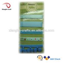 blue polyester satin ribbon dotty printed ribbon set for baby