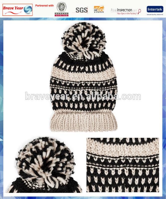 women monochrome texture stripe wholesale knit hat