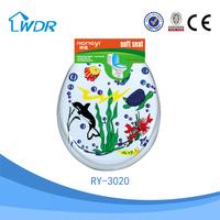 Colorful sanitary design soft decorative slowly down PVC toilet pad