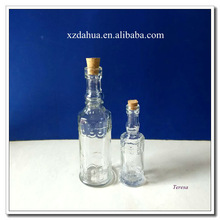 exquisite engraving glass milk bottle with cork stopper