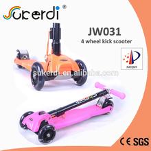 2015 new foldable four 120mm PU wheels kids frog kick scooter