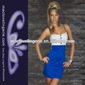 ml17816 jovem senhora moda azul elétrico sling escravidão vestido spandex