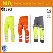 Construction work wear Hi vis poly cotton work pants reflective