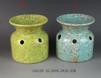 stoneware candle holder blue,red and green color ceramic candle holder