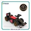 lotus f1 carreras de equipo de paseo en coche de juguete de los niños de la rueda de alimentación de control remoto con licencia de paseo en el coche de juguete