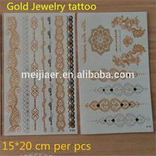 15*20cm Flash Tattoos Newest Temporary gold silver tattoos kits