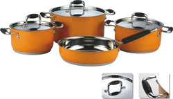 7pcs set tuna steel copper cookware parts with silicon handles
