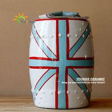 Beautiful Chinese Ceramic National Flag White Garden Stool Seat