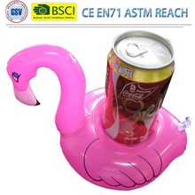 hot sale inflatable pink flamingo drink holder/pvc floating ice bucket cooler can coaster