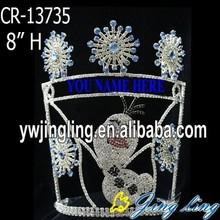 Custom rhinestone Olaf snowflake frozen crown