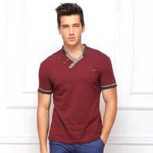 2014 summer new European and American fashion hit color stitching Slim short-sleeved V-neck t-shirts