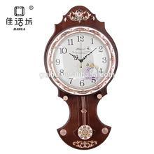 European-style wood decorative Brown wall pendulum clock