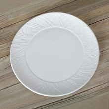 Wool texture finish ceramic plate,porcelain dinner plate