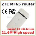 A estrenar de zte mf65, Bolsillo de bajo precio wifi 3 g router inalámbrico con ranura de la tarjeta sim