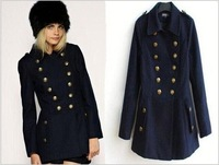 HFR-T652 chinese winter knee length double breasted turn-down collar women winter dress coats