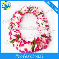 plastic hawaiian leis/luau leis/polyester artificial flower lei