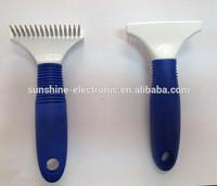 Pet rake brush with rubber handle 15 needle pet comb