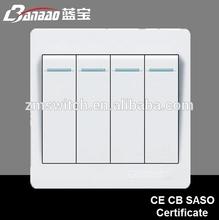 4 gang 1way PC montaje incorporado interruptor de encendido eléctrico