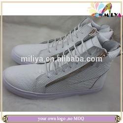 Miliya white snake pattern leather men casual flats fashion sneaker shoes designer