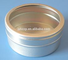 aluminum jar with PVC window cut cap,food grade candy aluminum jar,screw window cap canning jar