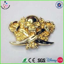 Customize skull logo metal gold belt buckle wholesaler