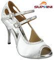 Dentelle Bbridal chaussures femmes robe, Blanc Tango chaussures de danse
