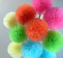 wedding hanging decoration colorful tulle pom pom ball/hanging tulle pompon for party decoration/decoration for christmas