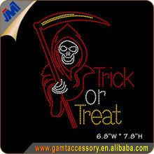 Halloween Ghost Trick or Treat rhinestone transfer design for halloween costumes