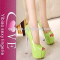 China fornecedor de ouro verde e branco princesa sexy crystal luz da boca de alta- de salto alto sapatos de casamento