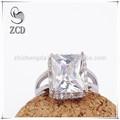 Micro allanar 925 joyería de plata esterlina del anillo cuadrado, plaza de cristal anillo de la joyería alibaba express