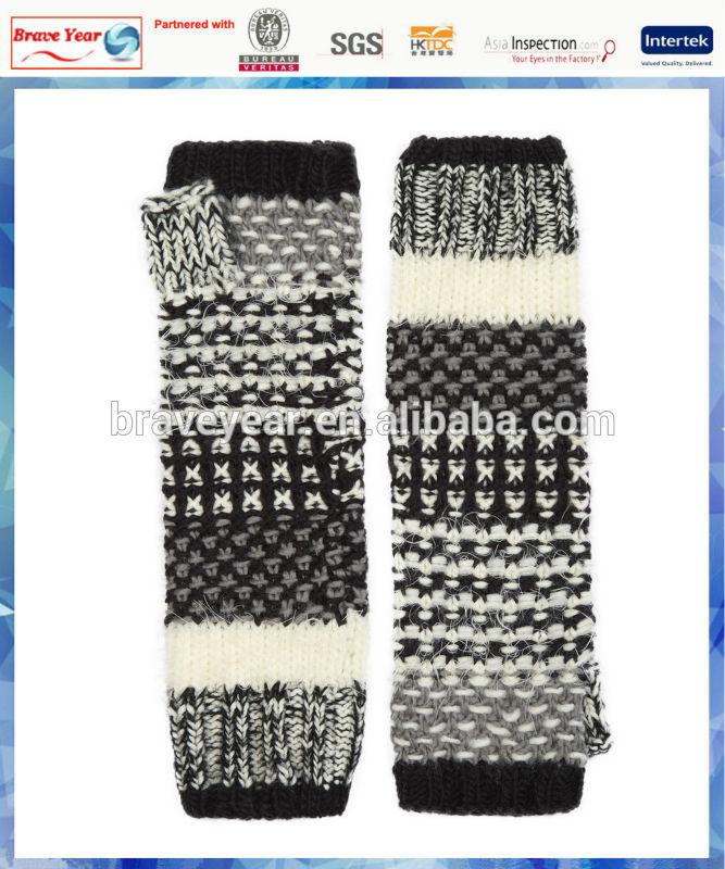60% Acrylic 40% Nylon women Ricky soft stripe knitted fingerless gloves