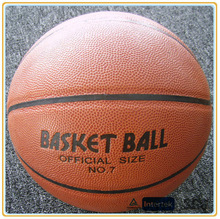 Cheap PU material match/train basketball size 7 logo orange color