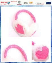 heart knit winter warm earmuffs with fluffy lining