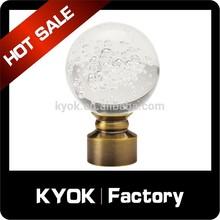 KYOK Manufacturer new disign round ball curtain finials , glass curtain rod finials