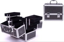 black pvc pattern professional Aluminum makeup train case