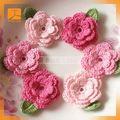 Tecido feito à mão flor fita decorativa crochet Handmade flores
