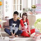 Fashion pajamas couple loves pajamas panda&stripe nightgown set