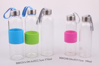 2014 new design blown glass bottle with metal lid
