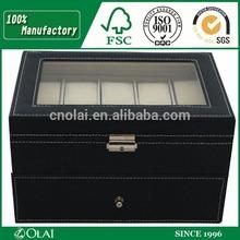 20 Slots Black Glass Top Watch Case