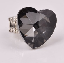 2015 gray big heart diamond Elastic Rings For Women