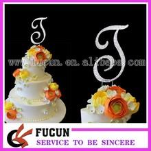 "wholesale Bling crystal rhinestone silver wedding letter initial monogram cake topper-5"""