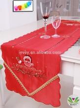 2014 hot selling chiristmas gift table cloth Red satin drill Santa Claus printed tablecloth