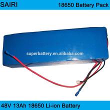 (SR-Li13000S) Customized Li-ion 18650 13ah lithium ion rechargeable 48 volt lithium battery pack