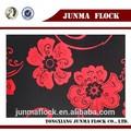 rouge et noir fleur motif textile de la chine à bas prix floqué tissu polaire pour importer des vêtements en thaïlande