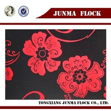 Red and black flower pattern China textile flocked cheap polar fleece fabric for import clothes thailand