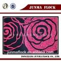 roseo negro rosa flor patrón flocado de materiales en la fabricación de zapatillas