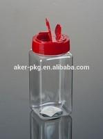 Food Grade Plastic 250ml square mini spice jar shaker wholesale, Clear plastic jar for spices