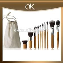 QK tapered blending fashion 10pcs golden makeup brush set free sample