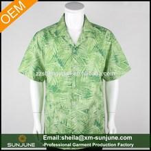 summer beach wear mens custom printed hawaiian shirt